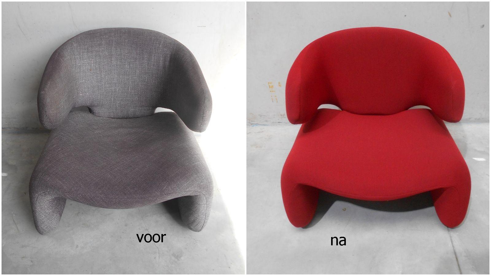 Voor en na gestoffeerde stoel